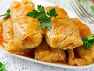 Веган зелеви сарми с елда и сирене тофу (от пресни зелеви листа)